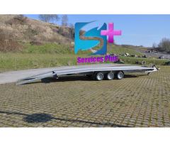 Location grande remorque plateau porte voiture plancher plein 3 essieux 6m x 2,10m 3500Kg