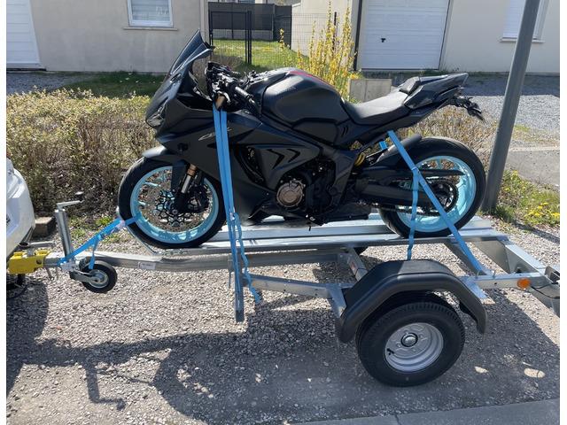 """Location remorque pour moto 1 rail PTAC 350kg roue 12"""""""