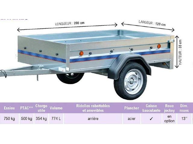 Loue remorque 200X120 caisse basculante ridelle arrière rabattable